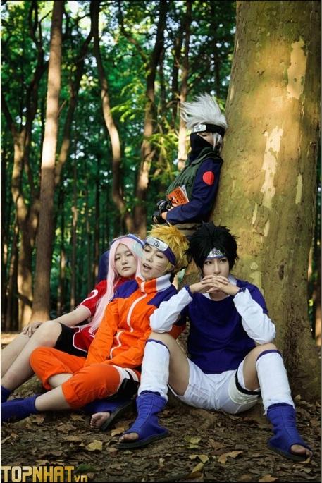 Cosplay Uchiha Sasuke lúc nhỏ đội 7 Team Kakashi