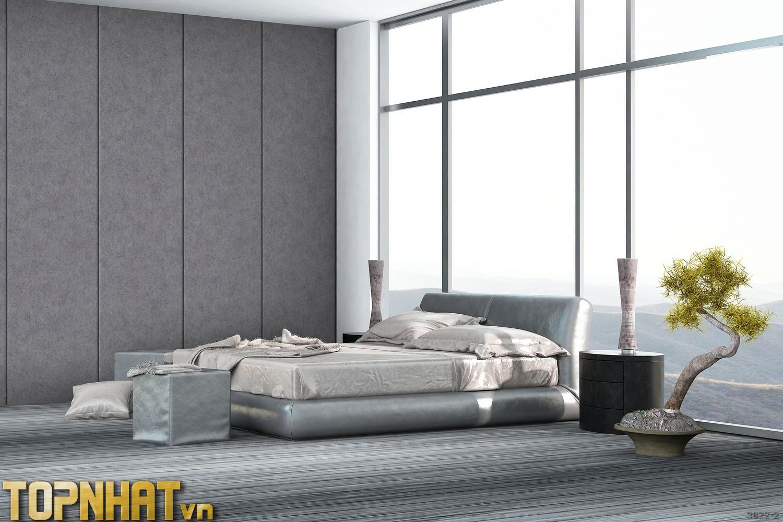 Giấy dán tường giả xi măng sọc dọc màu 2 phối cảnh