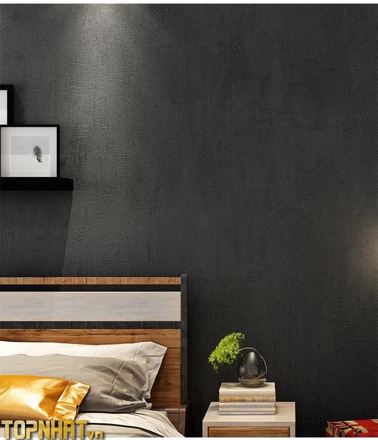 Giấy dán tường giả xi măng trơn màu đen đậm decor phòng ngủ