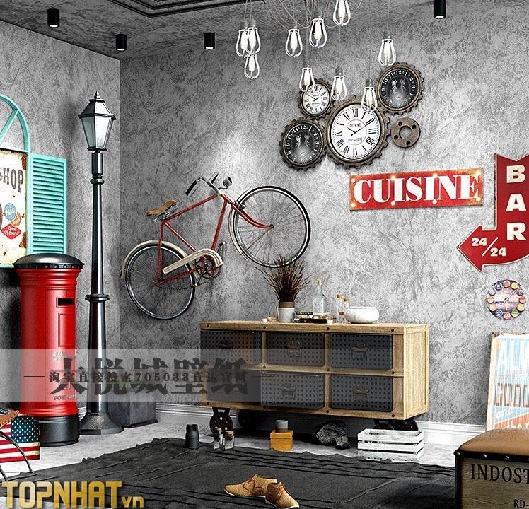 Giấy dán tường giả xi măng trơn màu nhạt decor