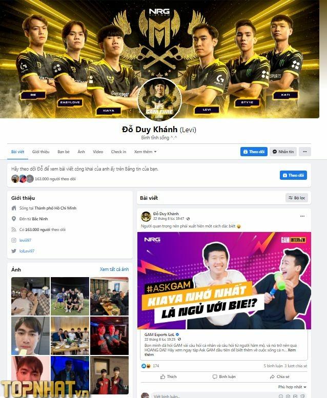 Nick Facebook của Levi với 163.000 lượt theo dõi