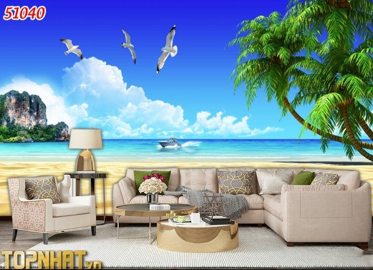 Tranh 5D cảnh biển cây dừa dán phòng khách