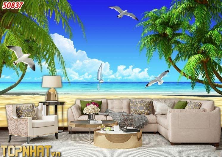 Tranh 5D cảnh biển dán phòng khách tạo sự thoáng mát