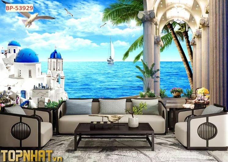Tranh 5D cảnh biển và lâu đài dán phòng khách