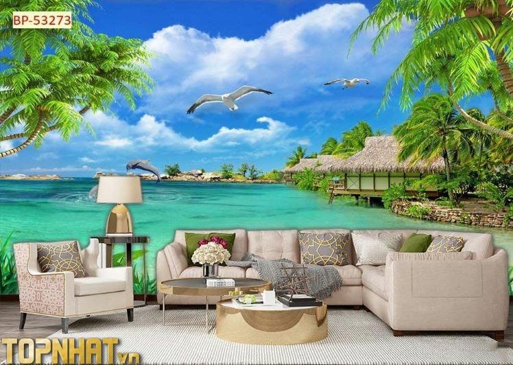 Tranh 5D cảnh khu nghỉ dưỡng ở biển