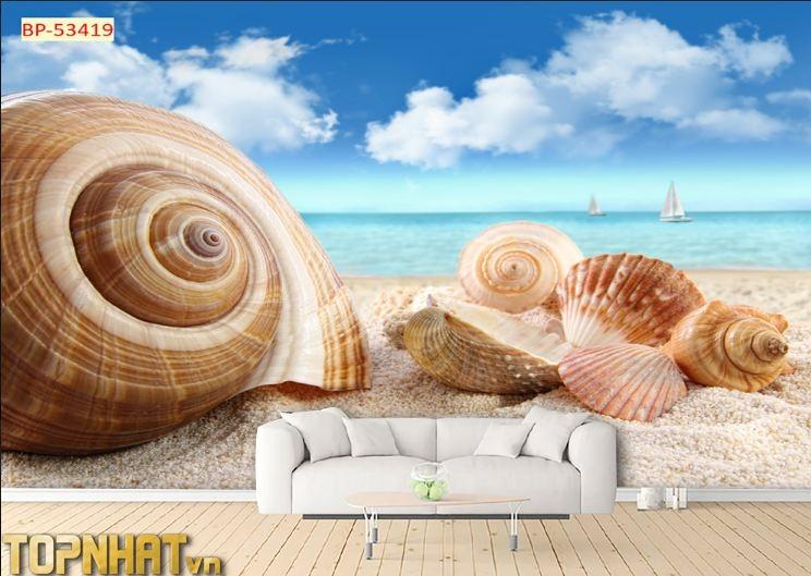 Tranh 5D cảnh ốc và biển