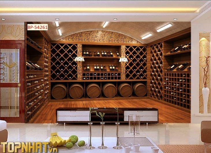 Tranh 5D hiện đại cảnh hầm rượu dán phòng khách