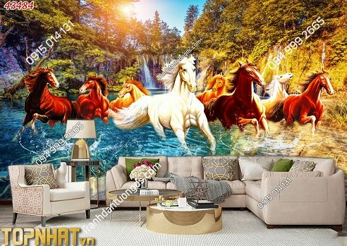 Tranh 5D mã đáo thành công dán phòng khách đẹp