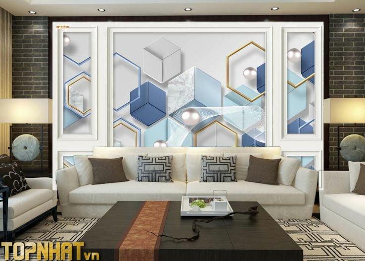 Tranh 5D phào chỉ decor hiện đại dán phòng khách