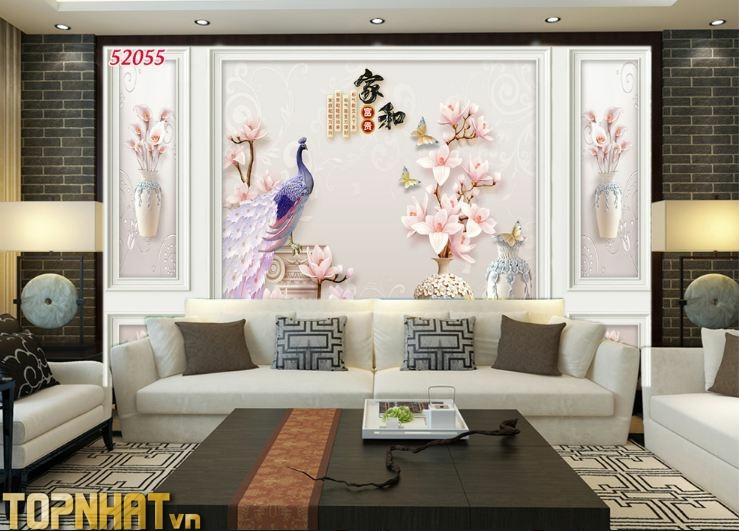 Tranh 5D phào chỉ hoa và chim công dán phòng khách