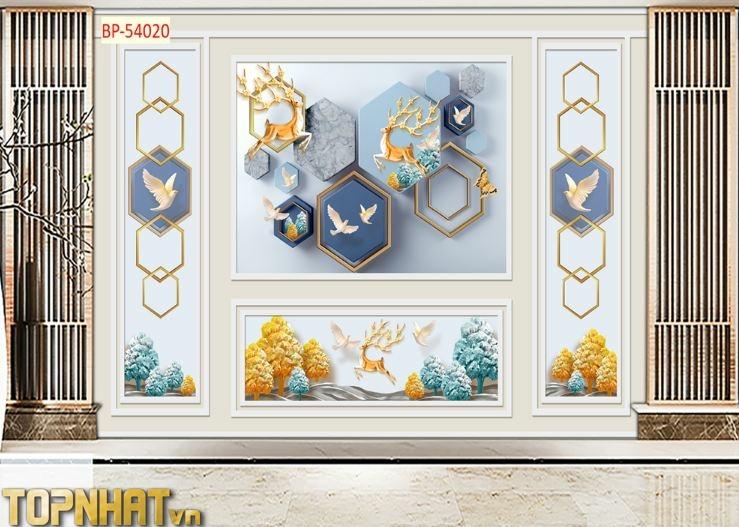 Tranh 5D phào chỉ kết hợp họa tiết decor dán phòng khách