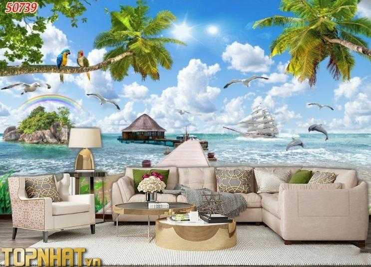 Tranh 5D phong cảnh biển dán phòng khách