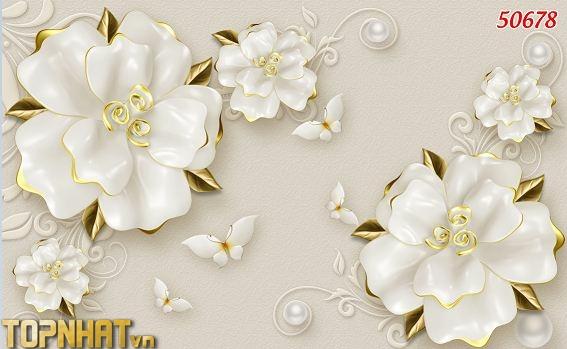 Tranh 5D phòng khách dán hoa giả ngọc