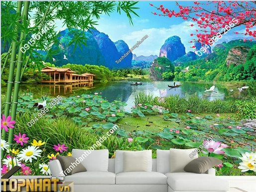 Tranh 5D phòng khách phong cảnh chủ đề ao sen đồng quê