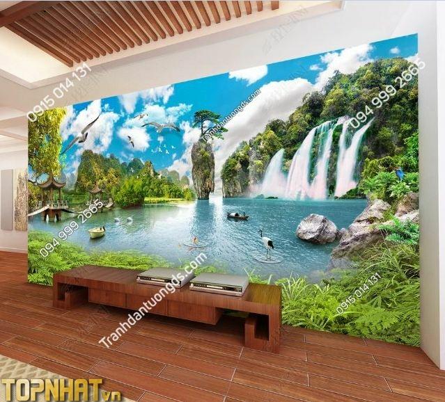 Tranh 5D sơn thủy dán tường phòng khách