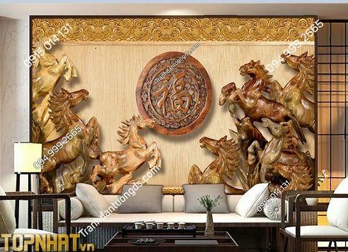 Tranh dán tường 5D bát mã giả gỗ phòng khách