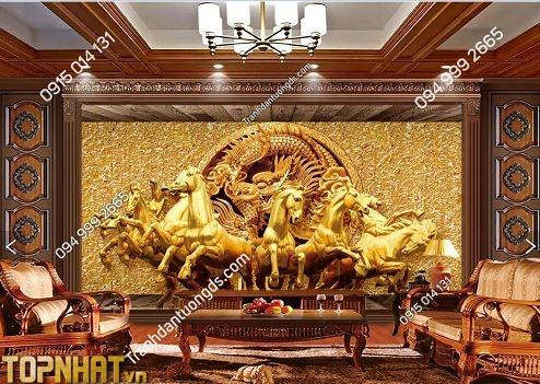 Tranh dán tường 5D bát mã giả mạ vàng dán phòng khách