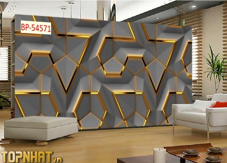 Tranh dán tường 5D hiện đại phòng khách