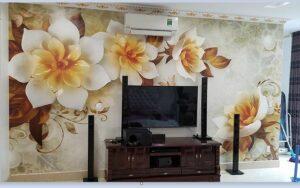 Tranh dán tường 5D hoa giả ngọc