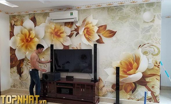 Tranh dán tường 5D hoa giả ngọc ảnh thực tế