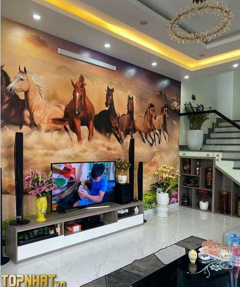 Tranh dán tường 5D mã đáo trang trí phòng khách
