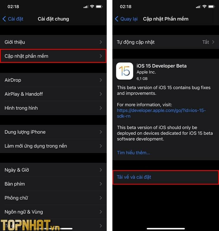Cập nhật phần mềm và Tải về và cài đặt iOS 15 Developer Beta là xong