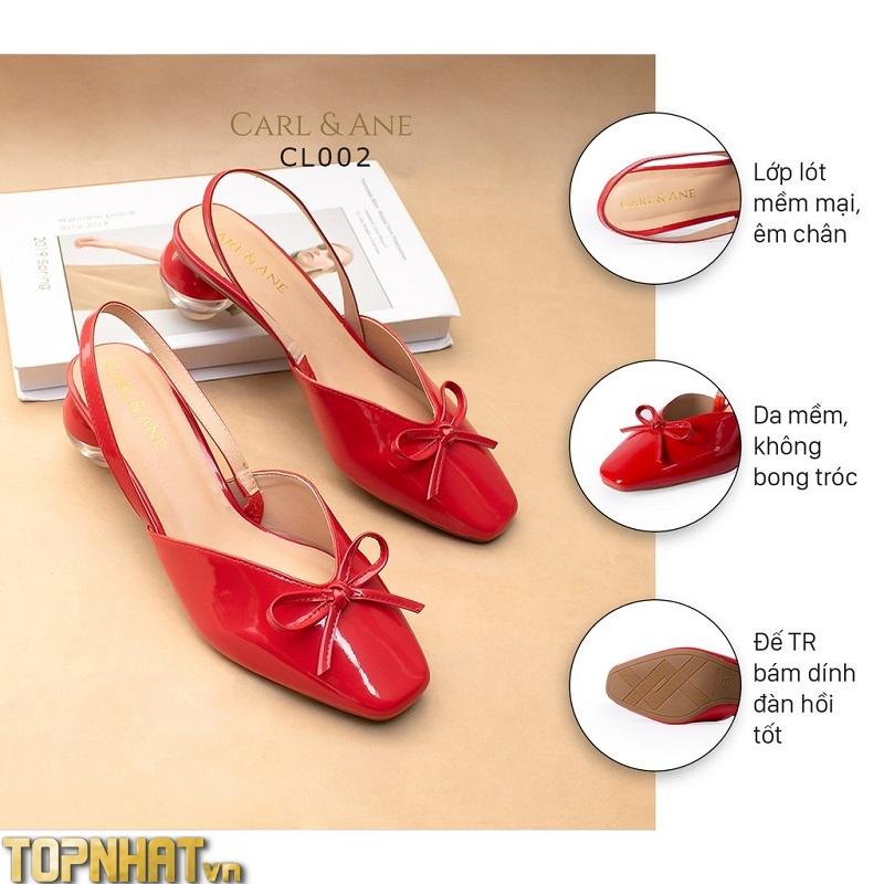 Carl & Ane - Giày cao gót mũi nhọn phối dây cao 5cm màu đỏ _ CL002