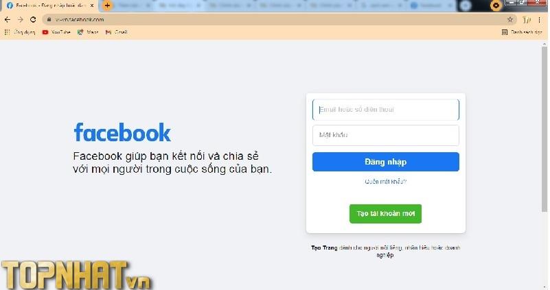Đăng nhập Facebook bằng máy tính