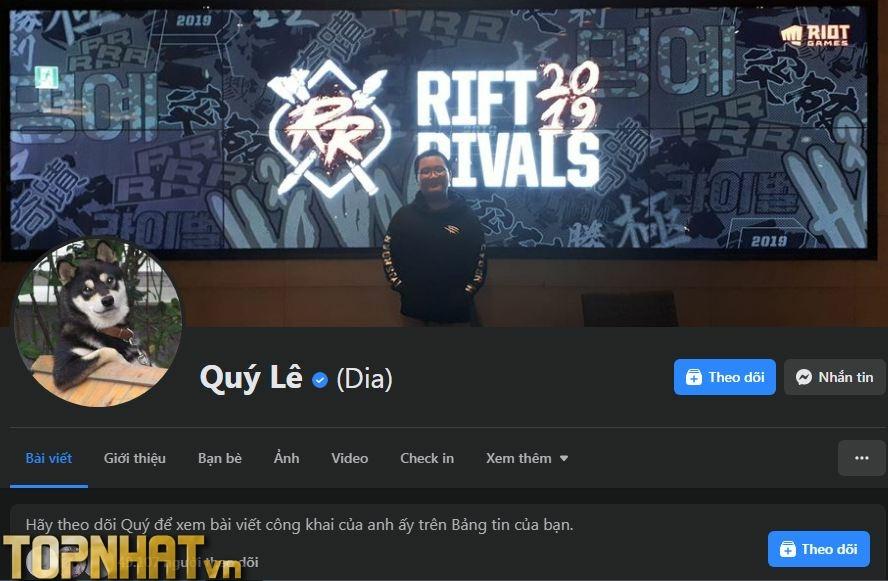 Facebook Quý Lê của Dia1 với gần 50.000 lượt theo dõi