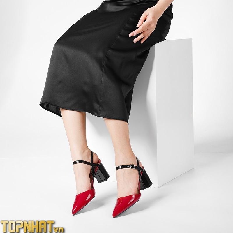 Giày Cao Gót DILY Mũi Nhọn Phối Dây Quai Mảnh Cao 7cm Màu Đỏ