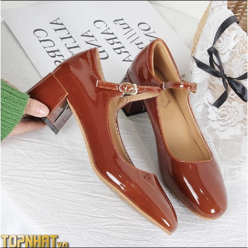 Giày Mary Jane retro cổ điển màu đỏ