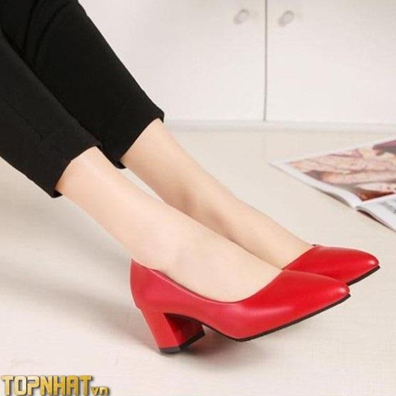 Giày cao gót 5P bịt mũi gót vuông màu đỏ trẻ trung