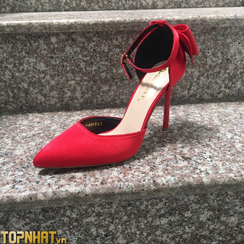 Giày cao gót Bigtree nơ hậu màu đỏ