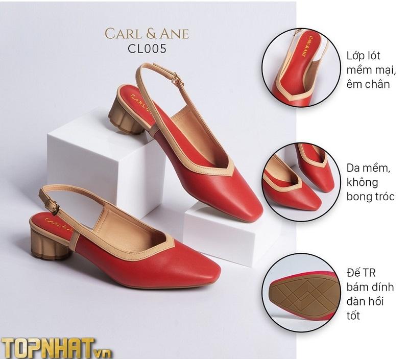 Giày cao gót mũi vuông hở gót phối dây cao 3cm màu đỏ