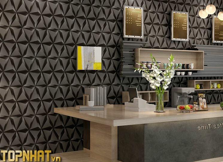 Giấy dán tường 3D tam giác màu đen dán tiệm tóc