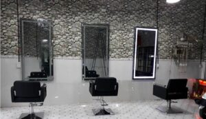 Giấy dán tường giả đá trang trí tiệm tóc
