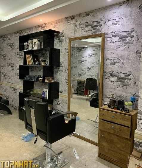Giấy dán tường giả gạch bê tông dán salon tóc