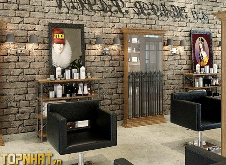 Giấy dán tường giả gạch nâu cho tiệm tóc