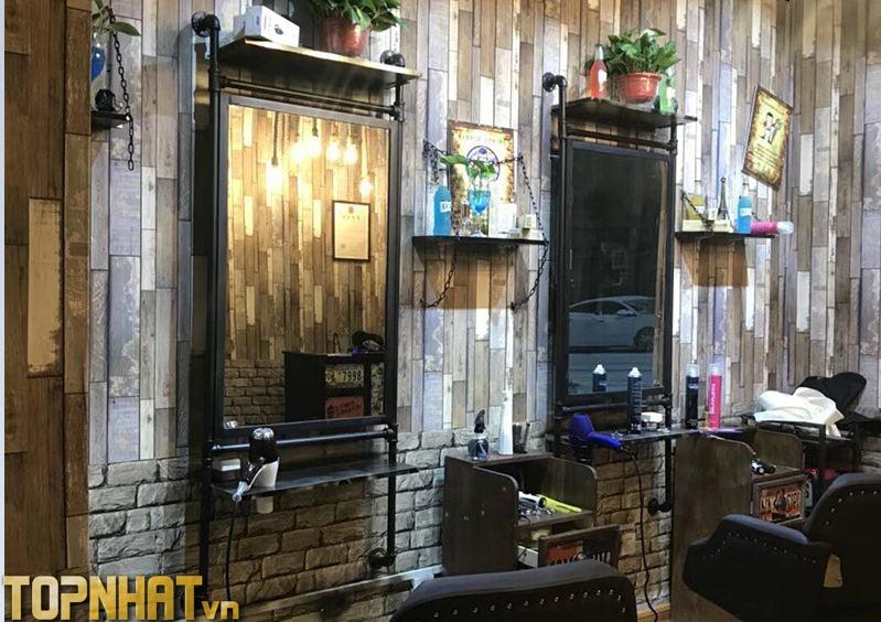 Giấy dán tường giả gỗ trang trí tiệm tóc