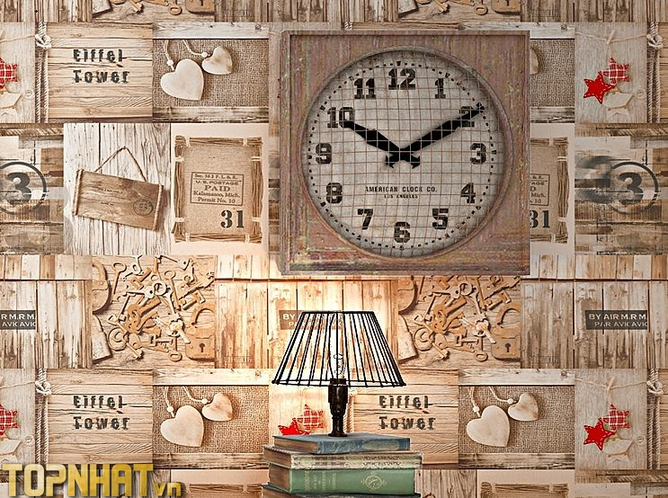 Giấy dán tường giả gỗ vintage cho tiệm tóc