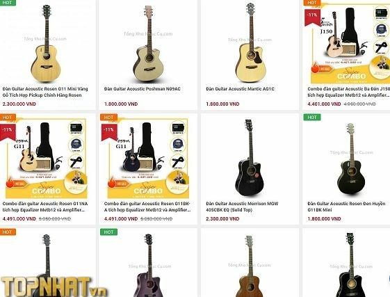 Niêm yết giá đàn Guitar cũng thể hiện sự uy tín của Shop