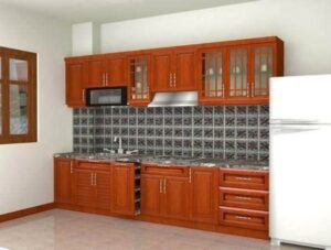 Thiết kế tủ bếp nhôm kính vân gỗ