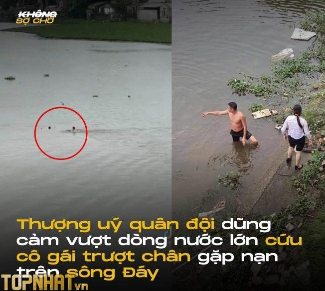 Thượng úy quân đội cứu người gặp nạn trên sông Đáy (Nguồn Không Sợ Chó)