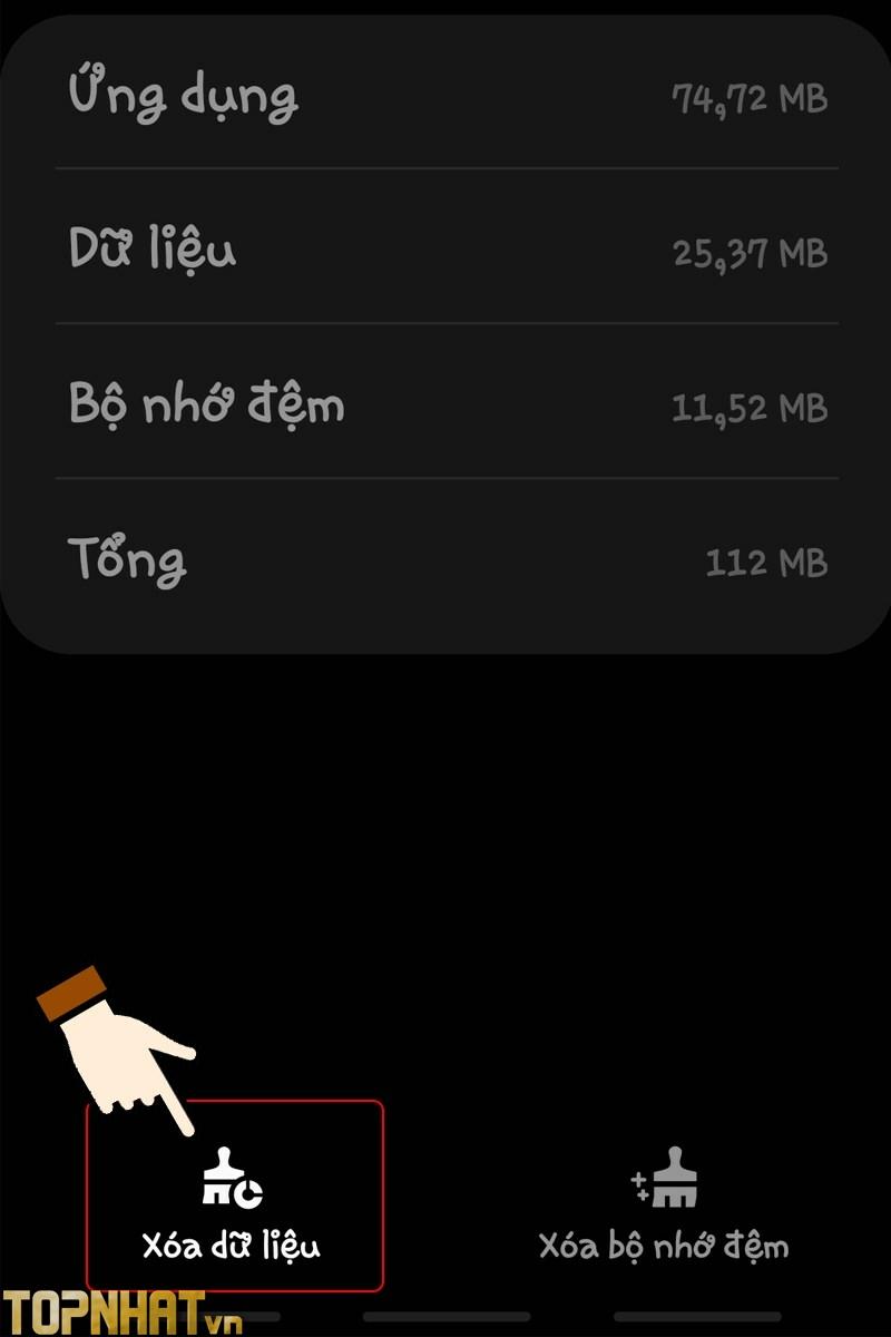 Xóa dữ liệu ở góc trái phía dưới màn hình