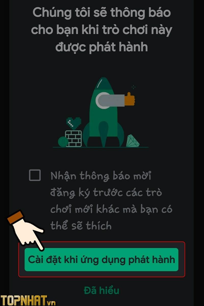 chọn Cài đặt khi ứng dụng phát hành