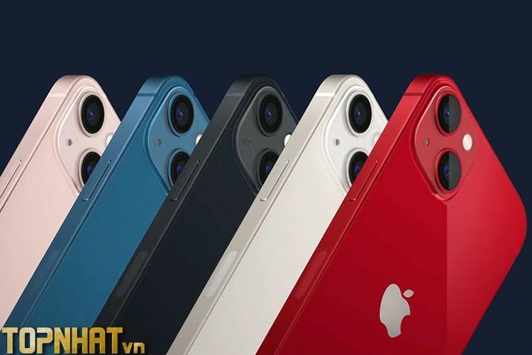 iPhone 13 với 5 màu lần lượt là Đỏ, Trắng, Đen, Xanh và Hồng