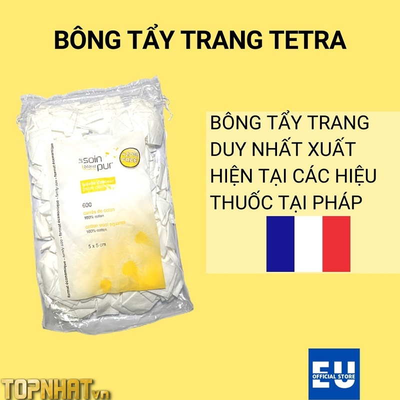 Bông Tẩy Trang Pháp Tetra Medical Carrés De Coton 600 miếng Le Soin Làl'état Pur