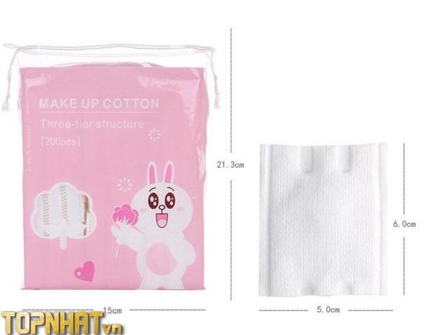 Bông tẩy trang Make Up Cotton Line friend 200 miếng